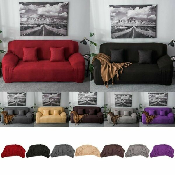 1234 Seater Stretch Elastic Fleece Thick Sofa Cover Slipcover Couch Covers US $26.64