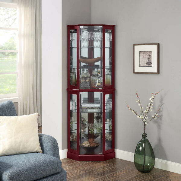 Ashfield Lighted Wood Glass Curio Corner Cabinet Floor Standing 2 Colors $269.99