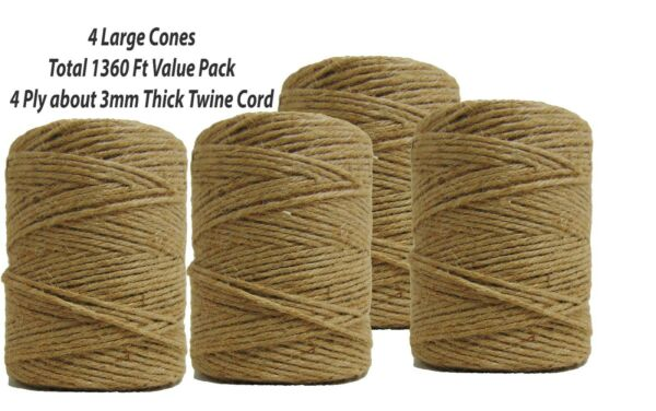 1360ft Jute Burlap Twine String 3mm Natural 4-ply Cord Rope for Craft Gift DIY