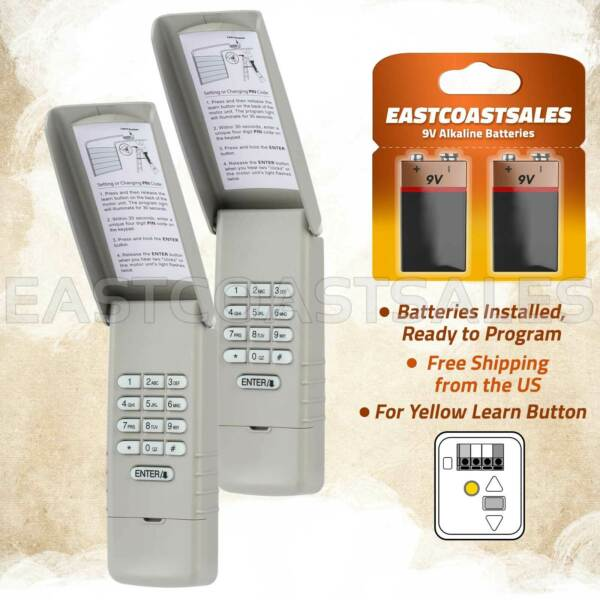 2 For Liftmaster 877LM Keypad Wall Garage Door Opener 891LM 893LM Yellow Learn $34.95