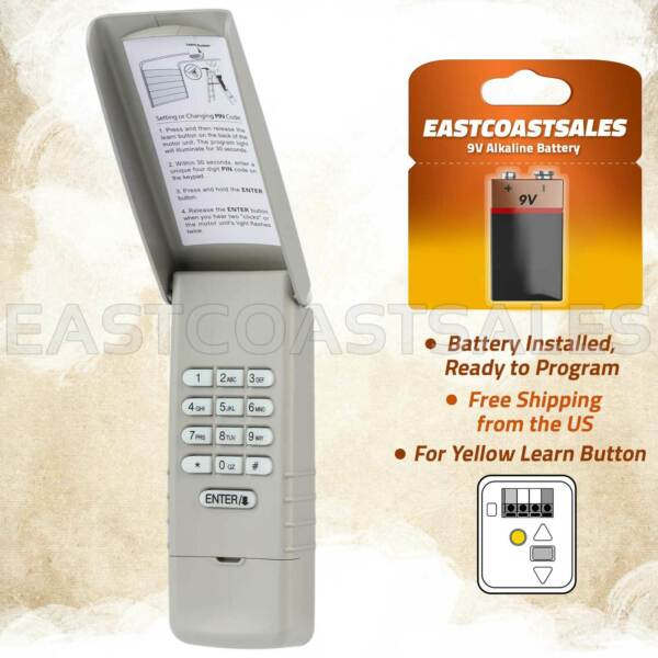 For LiftMaster 877LM Wireless Garage Door Keyless Entry Keypad Yellow Learn $19.95