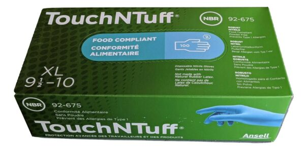 ANSELL 92 675 XL TouchNTuff Nitrile Disposable Gloves Size X Large Box of 100