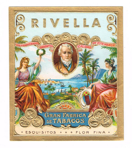 CIGAR BOX LABEL VINTAGE OUTER C1920 HIGHLY EMBOSSED BRONZED RIVELLA GOLD COINS