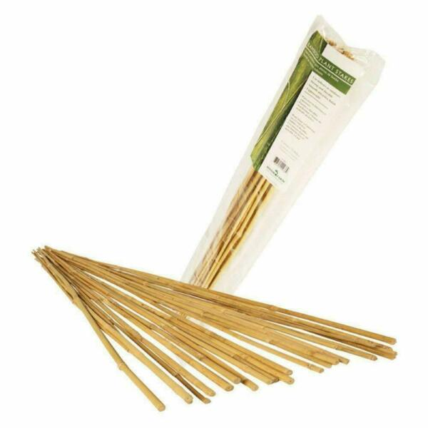 25 Pack Bamboo Plant Stakes 4 Foot Garden Wooden Sticks Hydrofarm Natural