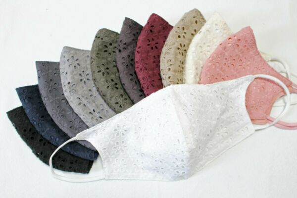 Face mask Washable Reusable Cotton Eyelet lace fabric Protective Mouth YH1522 $8.40