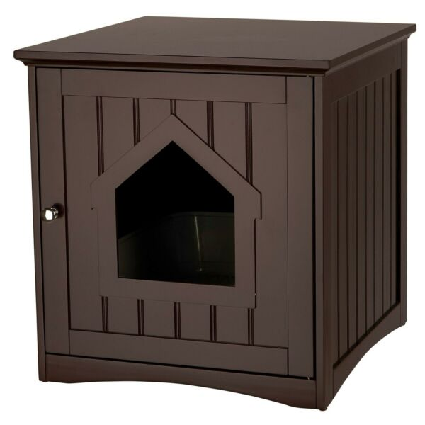 Wooden Indoor Cat House Condo Litter Box Holder Brown Wood Enclosure $78.79