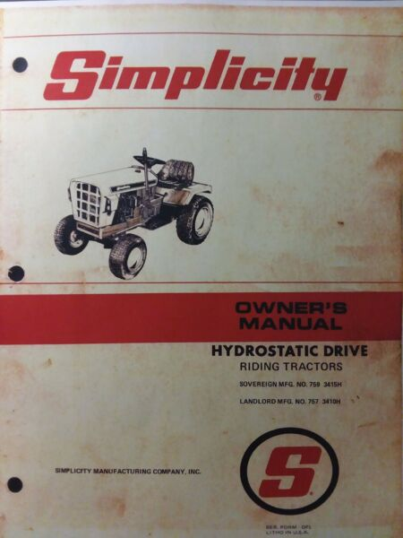 Simplicity Hydro Sovereign 3415H Landlord 3410H Tractor Owner amp; Parts Manual 759
