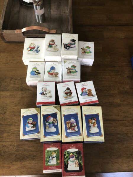 LOT OF 16 HALLMARK KEEPSAKE SNOWBUDDIES CHRISTMAS ORNAMENTS PENGUIN BEAR