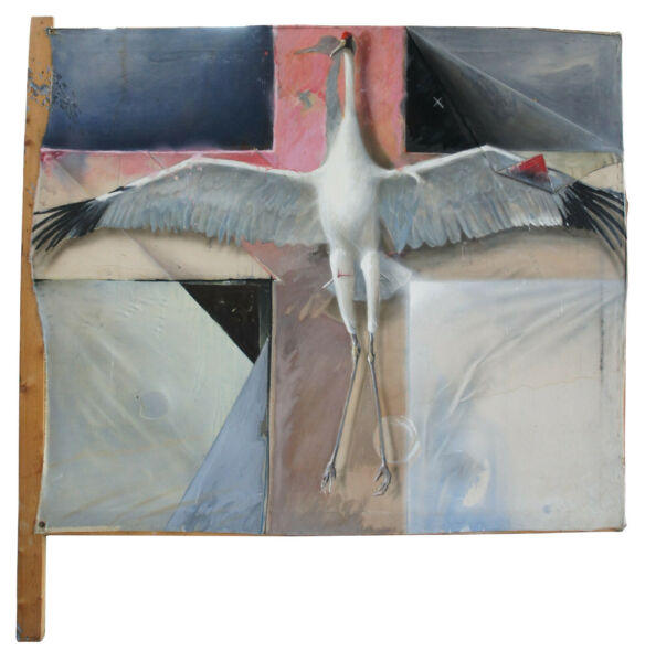 Greg Glazier Mixed Media Oil on Canvas Painting Crucified Sandhill Crane Stork