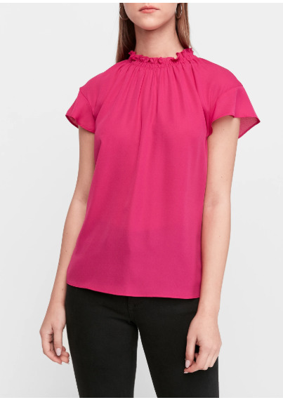 EXPRESS RUFFLE MOCK NECK TOP IN PINK FATALE New With Tags