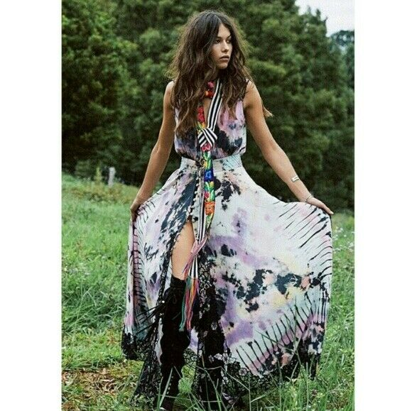 Spell & The Gypsy Collective Lucy In The Sky Dress Tie Dye Lace  Boho Festival