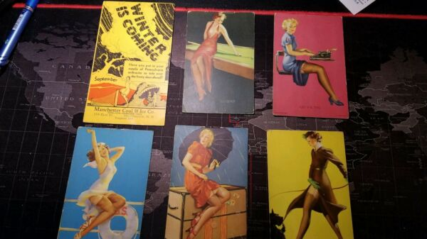 LOT OF 6   1940 MUTOSCOPE LITHO PIN UP ARCADE CARD GLAMOUR ELEMENTS ART