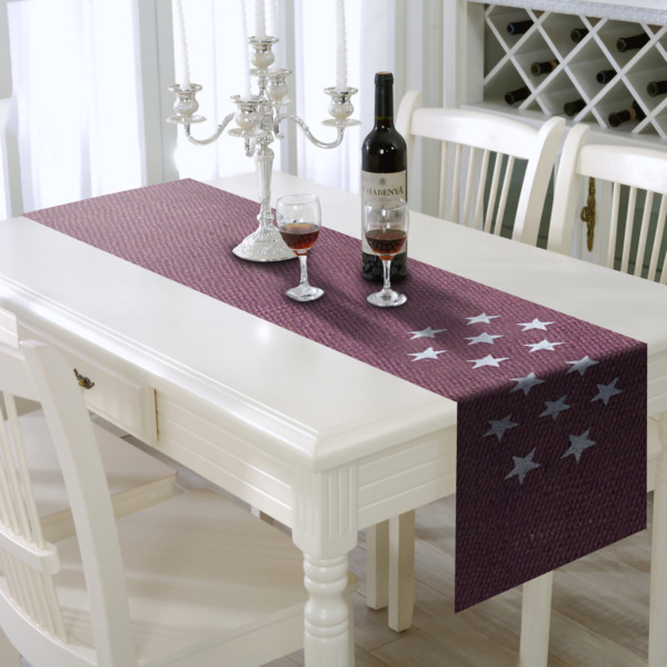 Burlap Table Runner with Purple drop Edges 12quot; X 108quot; compact tight weaved