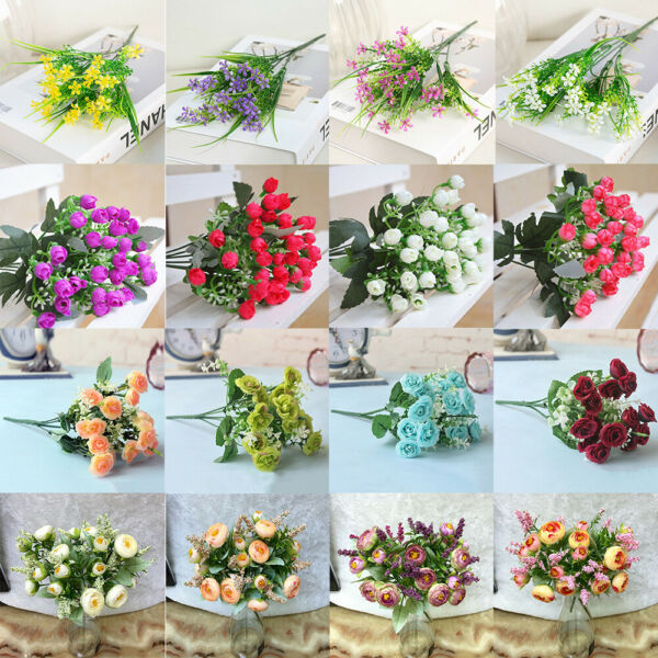 100 Mixing Simulation Artificial Fake Plants Plastic Flowers Home Floral Decor