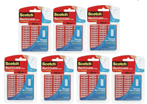NEW LOT 7 Scotch Restickable Mounting 1quot; X 3quot; 6 Pack Clear Strips Total of 42