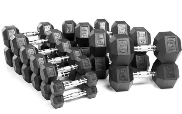 Weider Rubber Hex Dumbbells 10 15 20 25 30 35 lb Single or Pair FAST SHIP!!