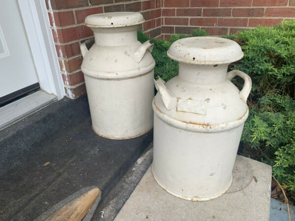 Two Large Vintage Wauconda IL Metal Dairy Milk Can