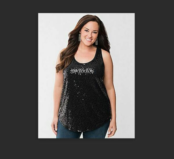 NEW Lane Bryant Plus 3X 26W 28W Black Mesh Sequin TANK TOP Sexy Sheer +STORE