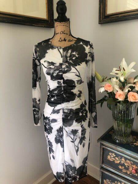 Kate And Lily Designer Black & White Sexy Modern Floral Summer Dress S 4 $88