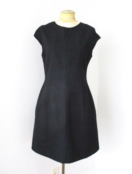 NWT $70 Gap Black Cotton Linen Fit Flare Office Career Dress Pockets LBD 10 $19.99
