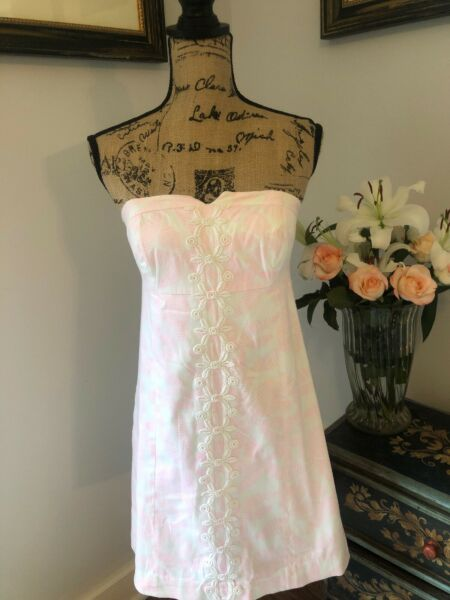 LILLY PULITZER Desiger Summer Dress Sexy Strapless Pink White Lace S 2 4 $198