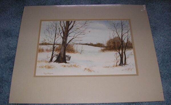VINTAGE SNOW WINTER MAPLE TREES MAPLE SYRUP SUGAR BUCKETS LANDSCAPE WC PAINTING