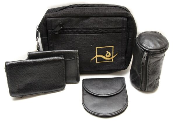 Mixed Lot of 5 Used Black Wallets Leather and Faux Leather $12.00