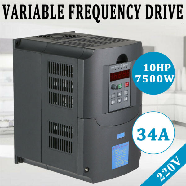 10HP 7.5KW 34A Variable Frequency Drive Inverter CNC VFD HVAC Single To 3 Phase