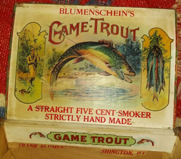VINTAGE GAME TROUT  5 CENT WOOD CIGAR BOX  FISHING GRAPHICS LABELS