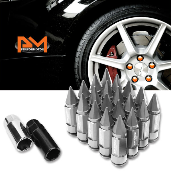 M12X1.5 Silver JDM Cone Spiked Cap Wheel Lug Nuts+Extension 23mmx83mm Tall 20Pc