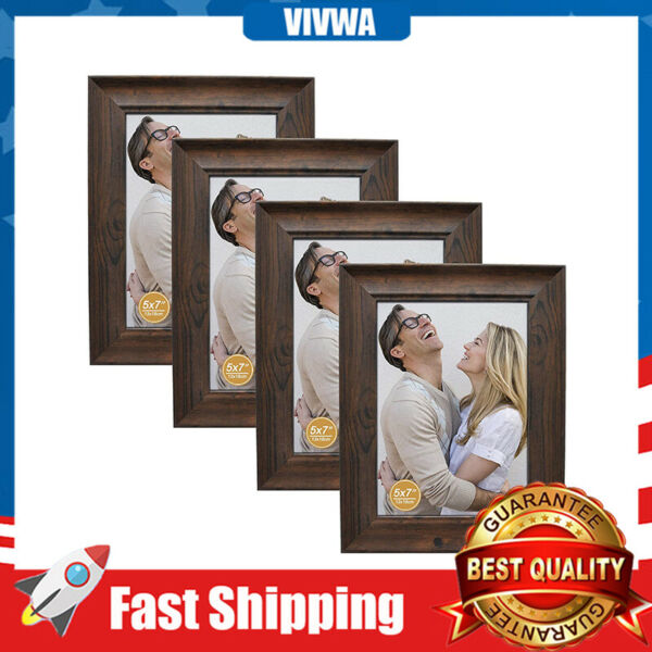 4 Pcs 5x7 Picture Frames Rustic Distressed Wood Pattern High Definition Glass