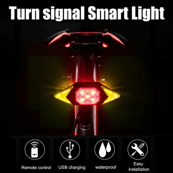 Bike Smart Turn Signal Rear Light Remote Direction Indicator LED Steer Tail Lamp $15.19