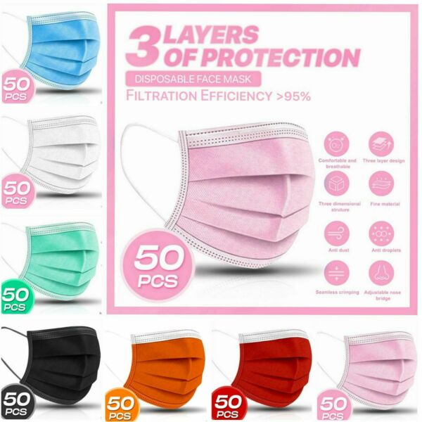 50 PC 3 PLY Layer Disposable Face Mask Dust Filter Safety Pink White Blue Black $10.99