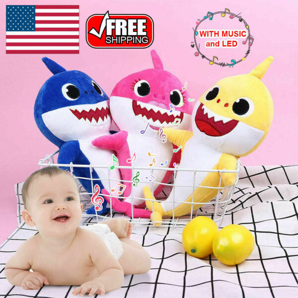 Baby Shark Plush Singing Toys Music Sound Soft Doll English Song Kids Gift Toy