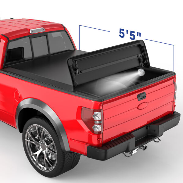 5.5FT 4 Fold Truck Bed Tonneau Cover Soft Folding For 04-08 Ford F-150 On Top