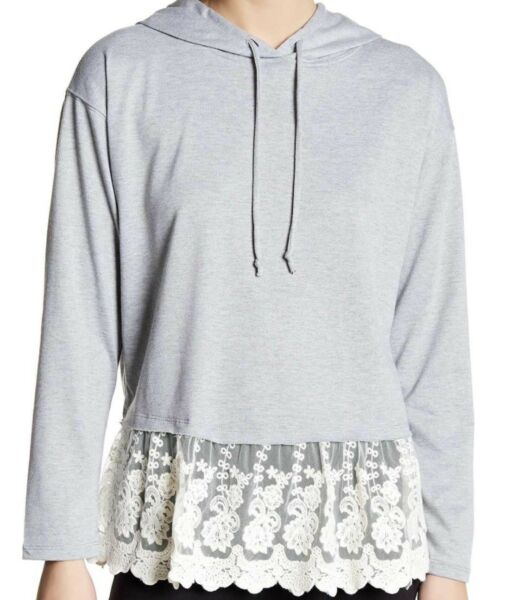 Living Doll L.A. Knit Top Women French Hoodie Lace Heather Gray  Long Sleeve Med