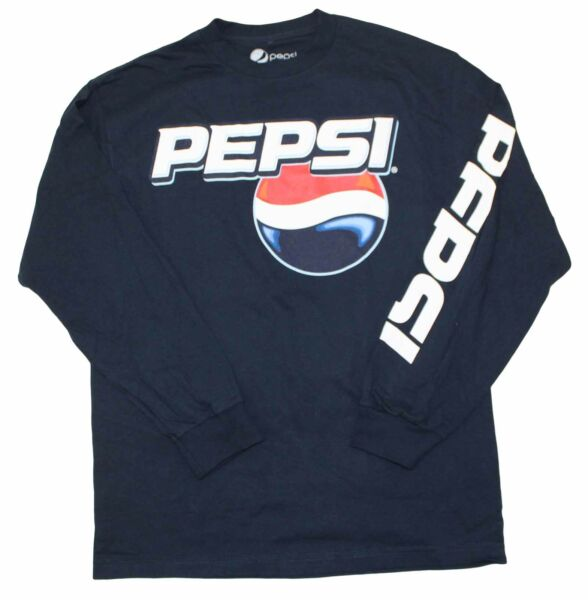 New Mens Pepsi Cola Vintage Classic T Shirt Logo Tee Navy Blue Long Sleeve New