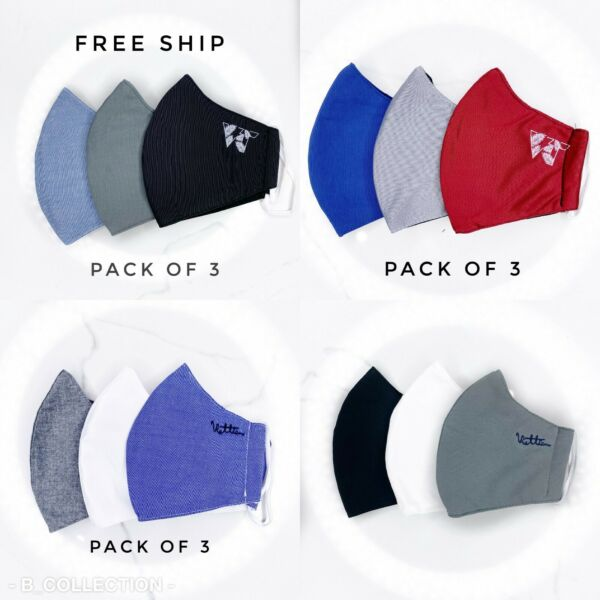 Reusable Fabric Poly Cotton Face Mask (Pack of 3) - Assorted Colors
