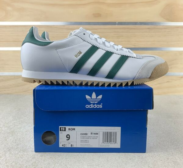 New Adidas Rom Retro OG Men's 9 Cloud White Green Shoes Sneakers CG5990