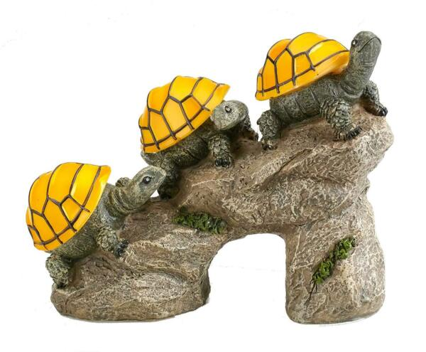 Solar Powered Turtles on Log Outdoor Accent Lighting LED Garden Light Decor $21.95