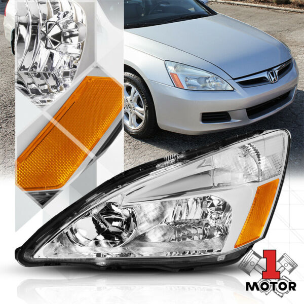 Left LH Driver Side Chrome Headlight Head Lamp Assembly for 03-07 Honda Accord