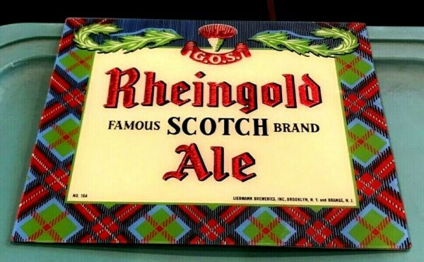 VINTAGE RHEINGOLD SCOTCH ALE ROG REVERSE ON GLASS BEER SIGN BROOKLYN NY ORANGE
