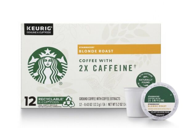 STARBUCKS BLONDE ROAST K CUP COFFEE PODS WITH 2X CAFFEINE 72 COUNT