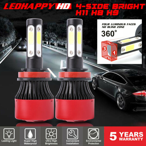 4-Side H11 H8 H9 LED Headlight Bulbs 60W 7600LM Hi-Low Beam Conversion Fog Light