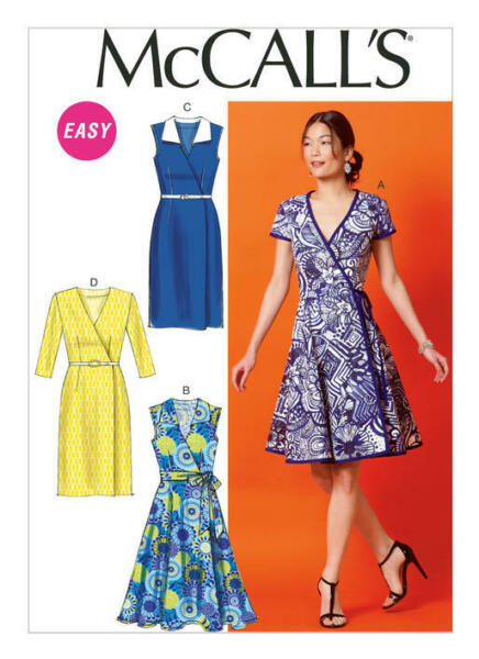 McCall's 6959 Paper Sewing Pattern Misses Size 6-22 EASY Wrap Dress