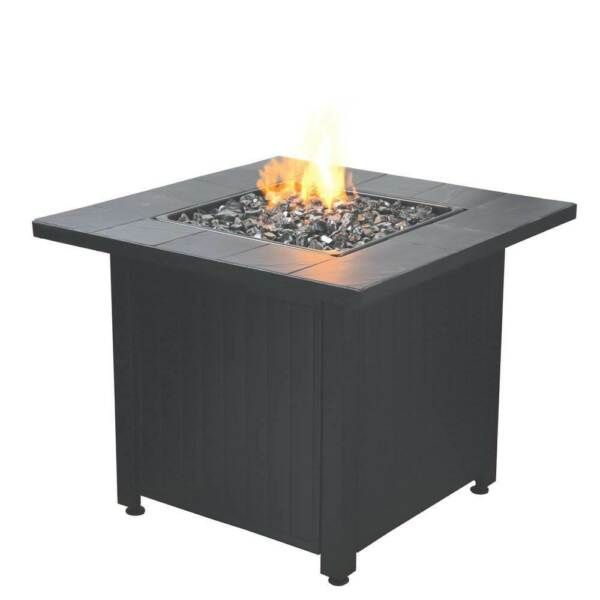 Endless Summer Liquid Propane Outdoor Patio Fire Table with Fire Glass Black