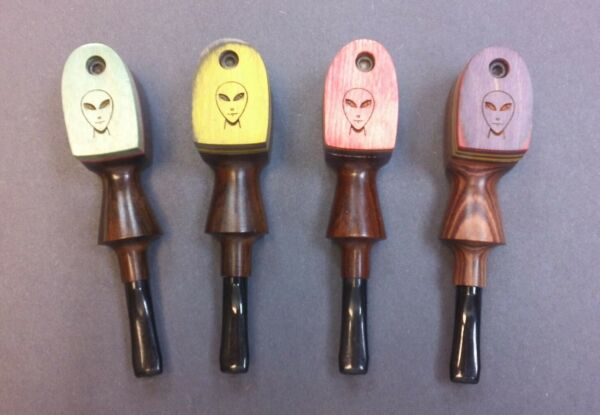 Tobacco 4quot; Wood Pipe with Rainbow Wood Swivel Lid Alien Made in the USA $14.95