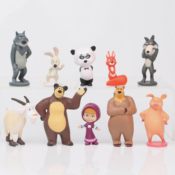 10 PCS Masha and The Bear Action Figures Set Party Toys Dolls Gift Cake Toppers
