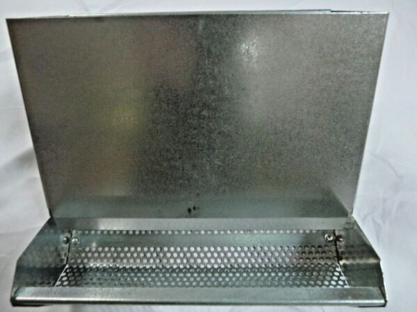 Feeder for rabbit cage metal USA made sifter bottom waste less feed 7.5