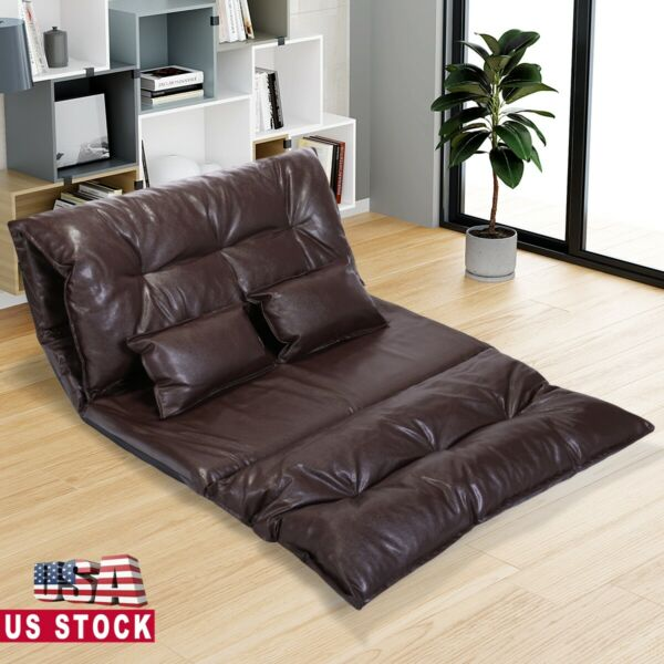 PU Leather Foldable Floor Chair Sofa Bed Video Gaming Lounge w 2 Pillows Brown $123.49